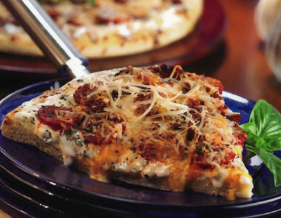 Creamy Garlic Pepperoni Pizza with Sun-Dried Tomatoes