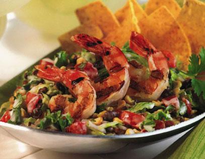 Grilled Shrimp Tostada Salad