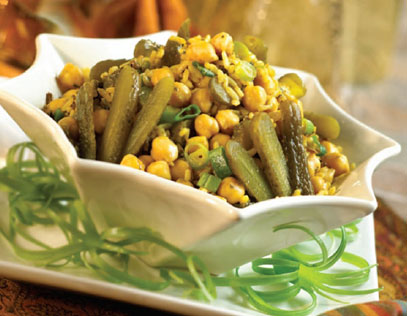 Curried Chickpea & Rice Salad with Sweet Gherkins