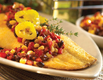 Flounder with Banana Peppers and Corn Relish