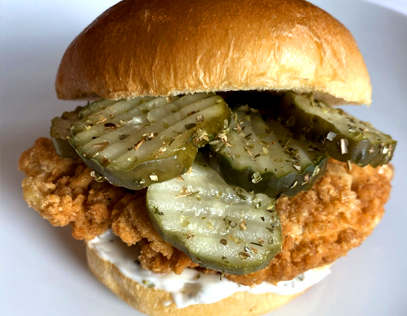 Ranch Pickle Chicken with Buffalo Honey Hot Sauce
